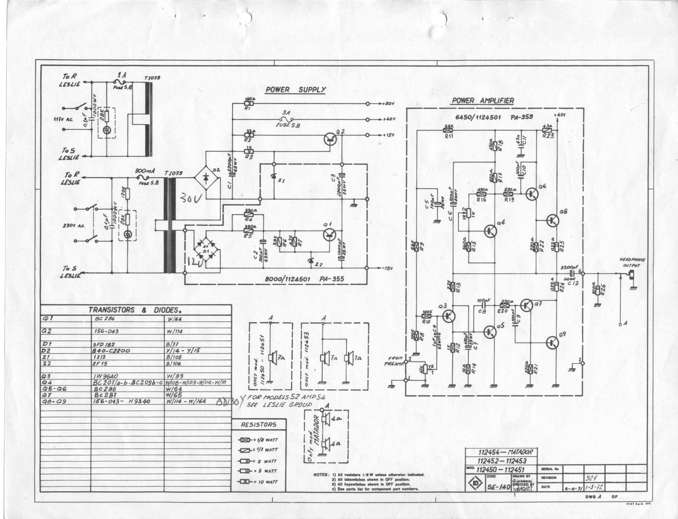 Schematics for Citofono farfisa schema